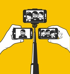 Taking selfie - hand hold monopod with phone vector
