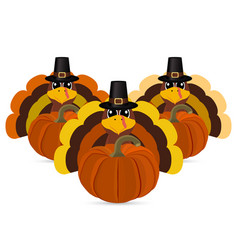 turkeys cartoon with pumpkins vector image