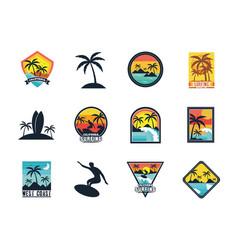 Twelve surf patches vector