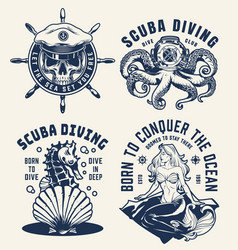 Vintage scuba diving and nautical emblems vector
