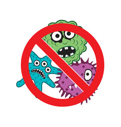 Virus warning sign no microbes antibacterial vector
