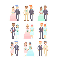 wedding couples set flat characters vector image