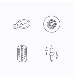 Wheel car mirror and spark plug icons vector image