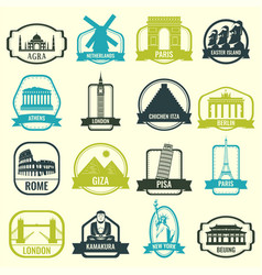 world landmarks travel and tourism landmarks vector image
