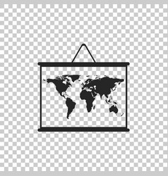 world map on a school blackboard icon isolated vector image