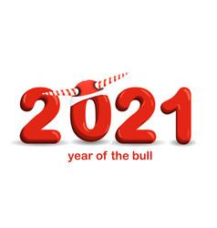year bull postcard square funny christmas vector image