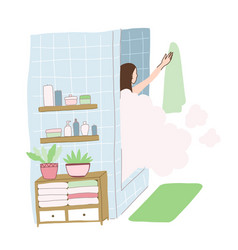 Young girl takes a shower with steam vector