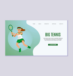 young woman practicing tennis game sportswoman vector image