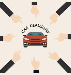 Car and human hand signcar dealership logo vector