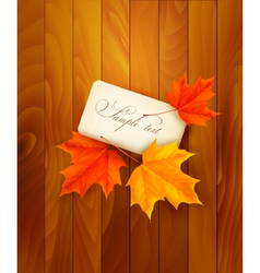 Card with leaves on wooden background vector image vector image