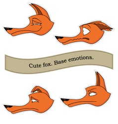 Cute fox emotions sticker pack Base emotions set vector image