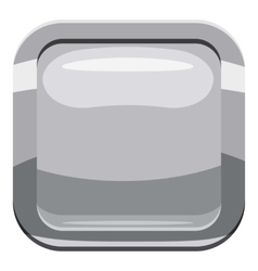 Gray square button icon cartoon style vector image