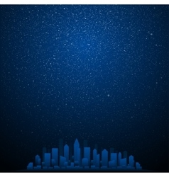 Starry night sky Silhouette of the city Eps 10 vector image
