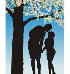 tradition kiss under cherry bloom vector image vector image