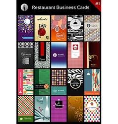 Variety business cards template for restaurant vector image