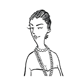 Young woman with beads vector image