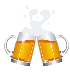 Beer mugs cheers vector
