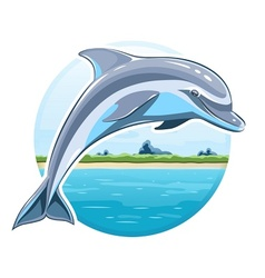 Dolphin on sea background vector image vector image