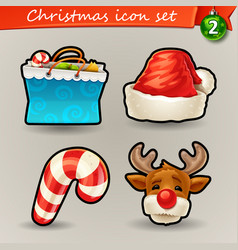 funny christmas icons-2 vector image vector image