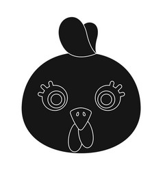 hen muzzle icon in black style isolated on white vector image