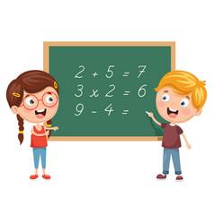 kids having math lesson vector image