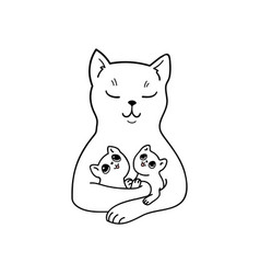 Mother cat with her adorable baby kittens vector
