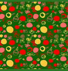 seamless pattern with decoration balls hand drawn vector image vector image