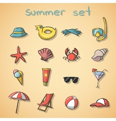 Summer vacation travel icons set vector image