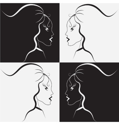 Black and white girl vector image