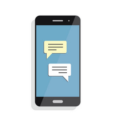 black smartphone with chatting screen messenger vector image