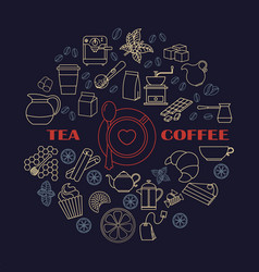 Collection of tea and coffee icons vector