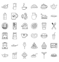 eatables icons set outline style vector image