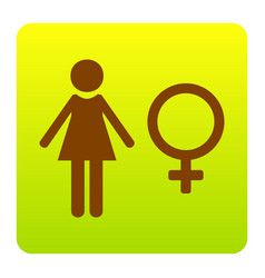 female sign brown icon at vector image vector image