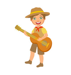happy boy scout with guitar a colorful character vector image vector image