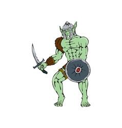 Orc Warrior Sword Shield Cartoon vector image vector image