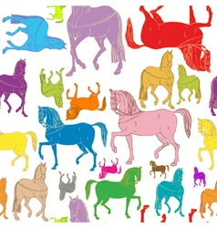 pattern of colored horses vector image vector image