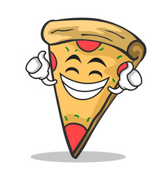 Proud face pizza character cartoon vector