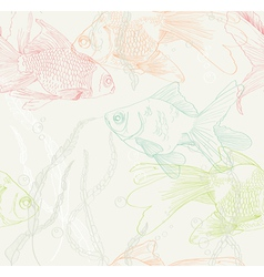 Seamless background with gold fishes vector image vector image