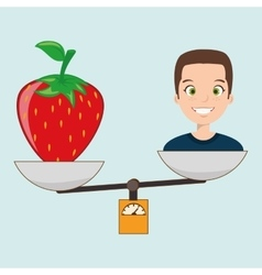 woman cartoon fruit strawberry food balance vector image