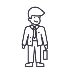 businessman with case line icon sign vector image