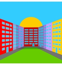 City yard in the morning vector image vector image