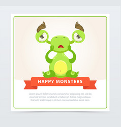cute sad green monster sitting on the floor happy vector image