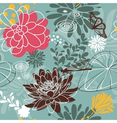 insect seamless floral pattern vector image vector image