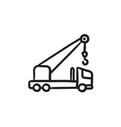 mobile crane sketch icon vector image