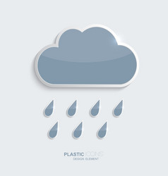Plastic icon clouds with rain drops vector image vector image