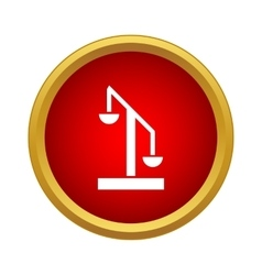 Scale of justice icon in simple style vector image