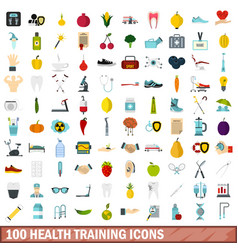 100 health training icons set flat style vector