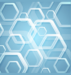 abstract bright blue hexagons tech background vector image