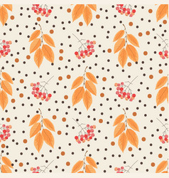 autumn seamless pattern with rowanberries vector image