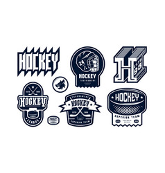 Badges set ice hockey team vector